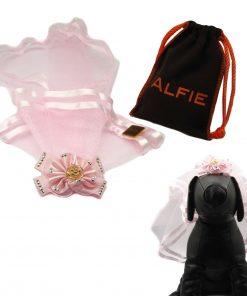 Alfie Pet by Petoga Couture - Khloe Bridal Wedding Clip Veil with Fabric Storage Bag