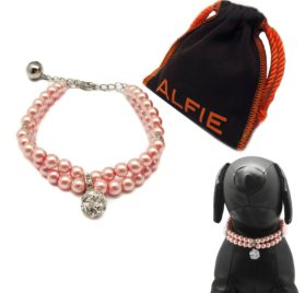 Alfie Pet by Petoga Couture - Lizbeth Double Layer Pearl Necklace for Dogs and Cats with Fabric Storage Bag