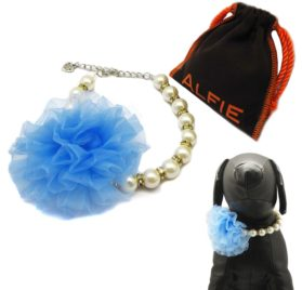 Alfie Pet by Petoga Couture - Parvani Floral Pearl Necklace for Dogs and Cats with Fabric Storage Bag