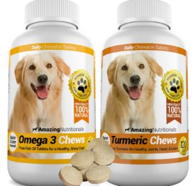 Amazing Combo Omega-3 Fish Oil and Turmeric Curcumin for Dogs - Pure All-Natural Pet Antioxidant