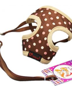 BWSC New Dot Soft Dog Harness And Lead Set For Chihuahua Pomeran Puppy Brown 2