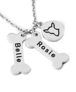 Chihuahua Dog Necklace,Personalized Dog names collor,Dog Bone & Dog breeds Charm Necklace.Your Lover Pet Gift.