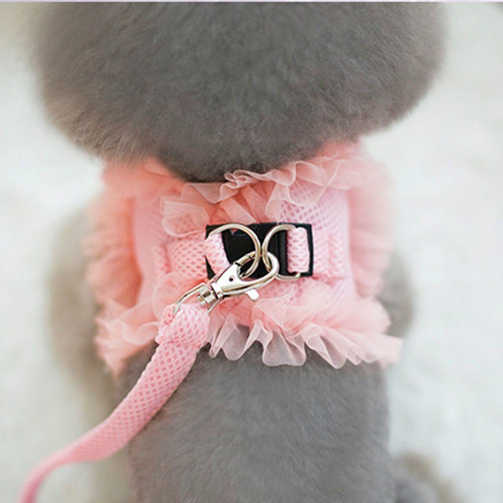 Cute Lace Small Pet Cat Dog Harness Vest And Leash