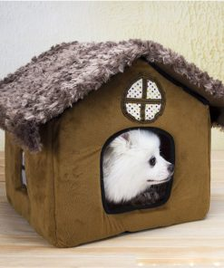 Cute Small Pet Dog Cat Bed Tent House Kennels For Small Dog Winter Warm Fleece Dog Puppy Chihuahua Bed Indoor House Nest Cushion 2