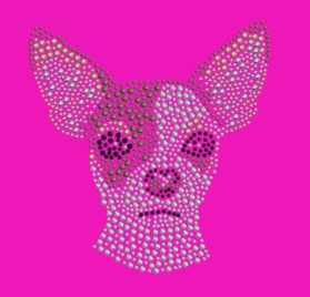 Dog in the Closet, Chihuahua Face - Rhinestone Dog Bandana - Choice of Color 2