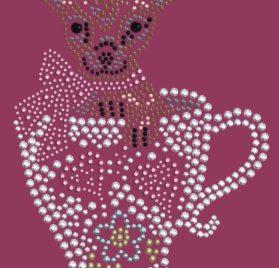 Dog in the Closet, Chihuahua in Teacup - Rhinestone Dog Bandana - Choice of Color 2