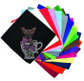 Dog in the Closet, Chihuahua in Teacup - Rhinestone Dog Bandana - Choice of Color