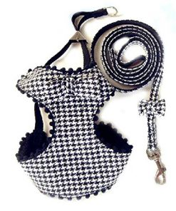 New Black Houndstooth Dog Harness And Lead Set For Chihuahua and Puppy