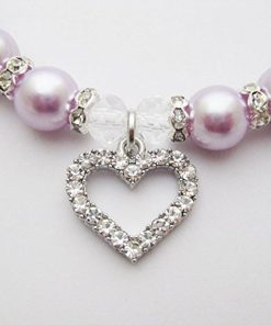 PETFAVORITES Engraved Crystal Heart Dog Necklace Jewelry with Bling Pearls Rhinestones Charm for Pets Cats Small Dogs Girl Teacup Chihuahua Yorkie Clothes Costume Outfits 2