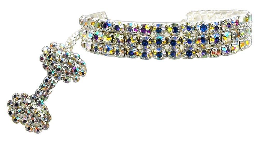 Petfavorites Fancy 3 Rows Rhinestones Dog Necklace Collar
