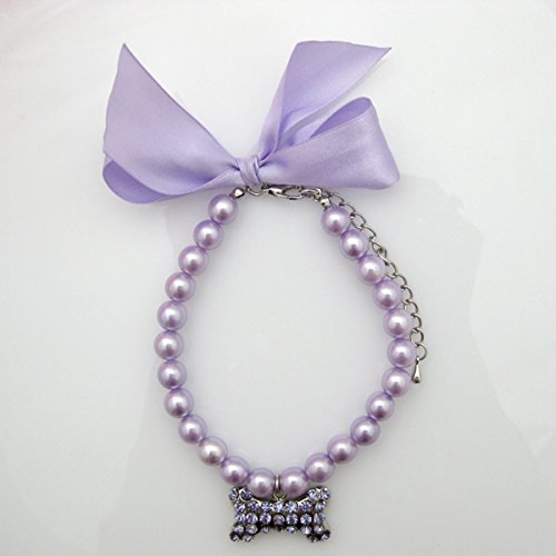 PETFAVORITES Fancy Pearls Crystal Dog Necklace Jewelry with Bling Rhinestones Big Bone Charm for Pets Cats Small Dogs Girl Teacup Chihuahua Yorkie Clothes Costume Outfits
