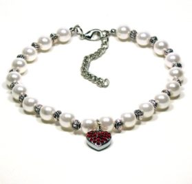 Pearl Pet Necklace with Crystal Heart Shape Charm