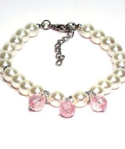 Pearl Pet Necklace with Crystal Pendants