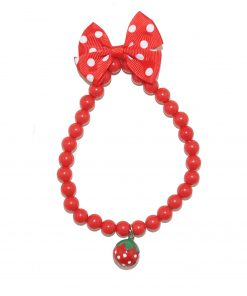 Remeel Pet Cat Dog Necklace Jewelry with Bling Pearls Strawberry Charm for Pets Cats Small Dogs Female Puppy Chihuahua Yorkie Girl Costume Outfits