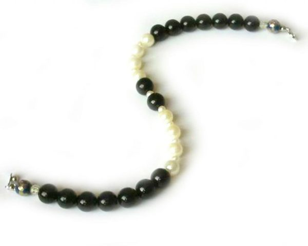 SACAS Black White Pearl Dog Necklace -- 3 Sizes Available