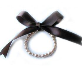 SACAS Bronz Pearl w Ribbon Dog Necklace size 6 Inch