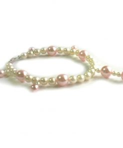 SACAS Pink White Pearl Dog Necklace -- 3 Sizes Available