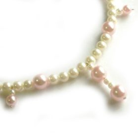 SACAS Pink White Pearl Dog Necklace -- 3 Sizes Available 2