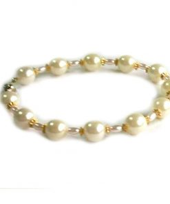 SACAS White Pearl w Golden Leaf Dog Necklace -- 3 Sizes Available