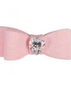 Ultrasuede Crystal Heart Hair Bow for Dogs