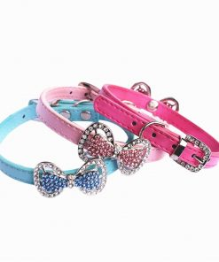 Yunt Bling Rhinestone Pet Cat Dog Bow Tie Collar Necklace Jewelry,Female Puppies Chihuahua Yorkie Girl Costume Outfits 2