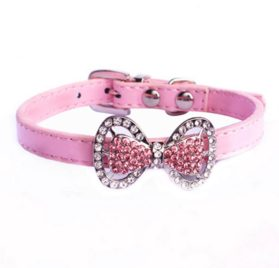 Yunt Bling Rhinestone Pet Cat Dog Bow Tie Collar Necklace Jewelry,Female Puppies Chihuahua Yorkie Girl Costume Outfits