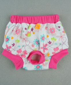 Fitwarm Washable Pink Floral Female Pet Dog Diaper Sanitary Pants Season Heat Nappies Clothes Apparel 2