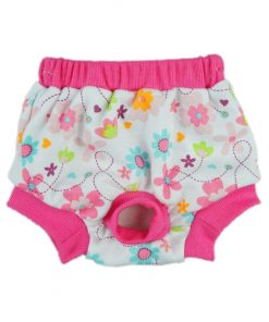 Fitwarm Washable Pink Floral Female Pet Dog Diaper Sanitary Pants Season Heat Nappies Clothes Apparel