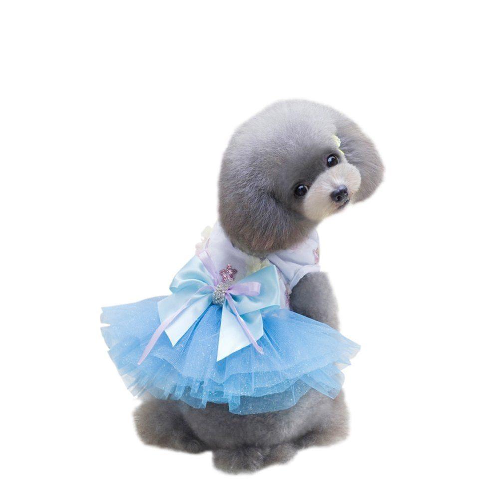 Patgoal Pet Dog Cat Clothes Summer Bowknot Lace Princess Skirt Party Tutu Dress X on Doggie Design Dog Vest Harnesses