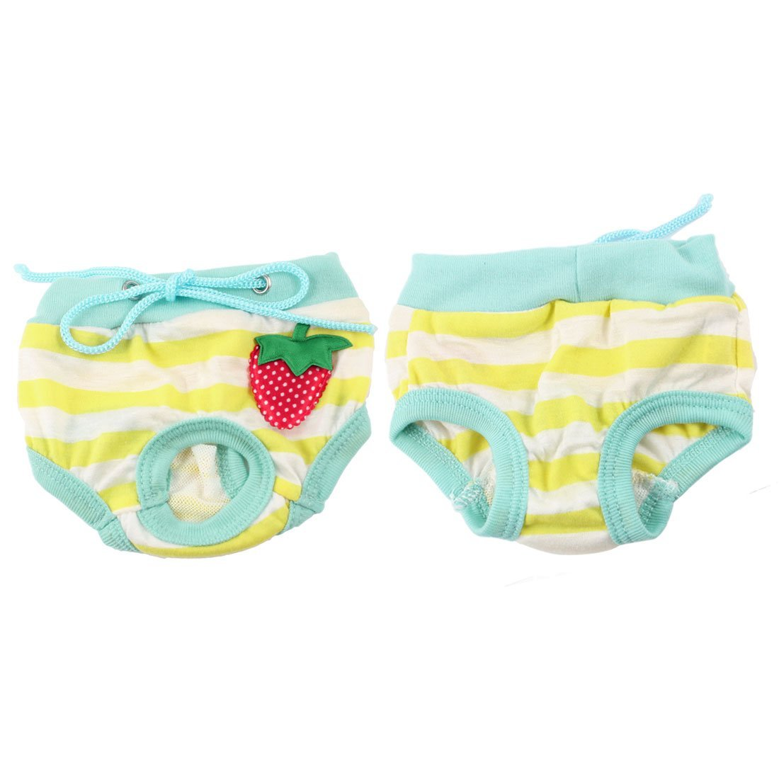 Uxcell Yorkie Pet Dog Yellow White Striped Adjustable Waist Diaper Pants