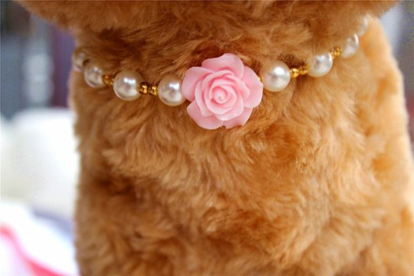 3 sizes 4 colors Handmade Cat Dog Necklace Jewelry with Bling Pearls Gorgeous Rose Flower Charms for Pets 2