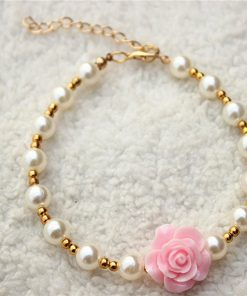 3 sizes 4 colors Handmade Cat Dog Necklace Jewelry with Bling Pearls Gorgeous Rose Flower Charms for Pets 3