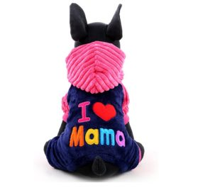 iEFiEL I Love Papa Mama Pets Pups Cats Sweet Hooded Coat Winter Suit