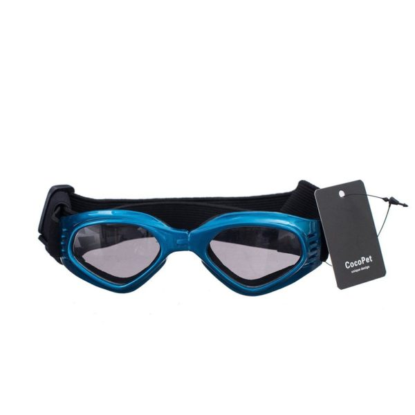 [NEW VERSION] CocoPet Cool Dog Goggles Pet Sunglasses Eye Wear UV Protection Waterproof Sunglasses for Puppy Dogs Small Medium Blue