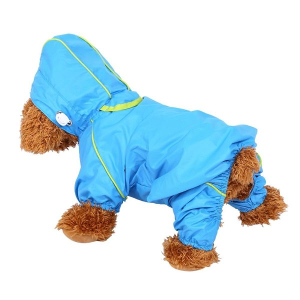 Pet Dog Raincoat Waterproof Jumpsuit Puppy Drawstring Hooded Rain Jacket Blue Slicker Outdoor Protection Clothes, XS 2