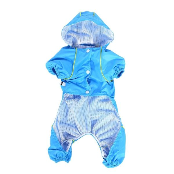 Pet Dog Raincoat Waterproof Jumpsuit Puppy Drawstring Hooded Rain Jacket Blue Slicker Outdoor Protection Clothes, XS 4