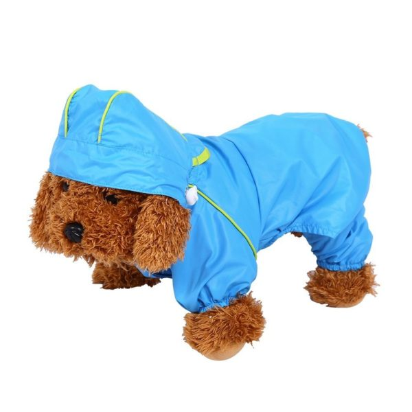 Pet Dog Raincoat Waterproof Jumpsuit Puppy Drawstring Hooded Rain Jacket Blue Slicker Outdoor Protection Clothes, XS