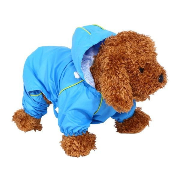 Pet Dog Raincoat Waterproof Jumpsuit Puppy Drawstring Hooded Rain Jacket Blue Slicker Outdoor Protection Clothes, XS 8