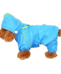 Pet Dog Raincoat Waterproof Jumpsuit Puppy Drawstring Hooded Rain Jacket Blue Slicker Outdoor Protection Clothes, XS 9