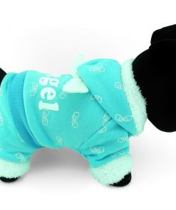 SELMAI Pet Puppy Cat Small Dog Clothes Warm Fleece ANGEL Hoodies Jacket Coat Jumpsuit Outfits Blue XS