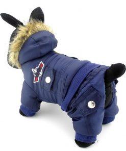SELMAI Small Dog Apparel for Girls Boys Airman Fleece Winter Coat Snowsuit Hooded Jumpsuit Waterproof Puppy Dog Clothes 2