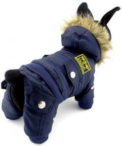 SELMAI Small Dog Apparel for Girls Boys Airman Fleece Winter Coat Snowsuit Hooded Jumpsuit Waterproof Puppy Dog Clothes