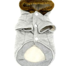 SMALLLEE_LUCKY_STORE Pet Small Dog Cat Clothes Fleece Horns Hoodie Jacket Hooded Coat Grey S 2