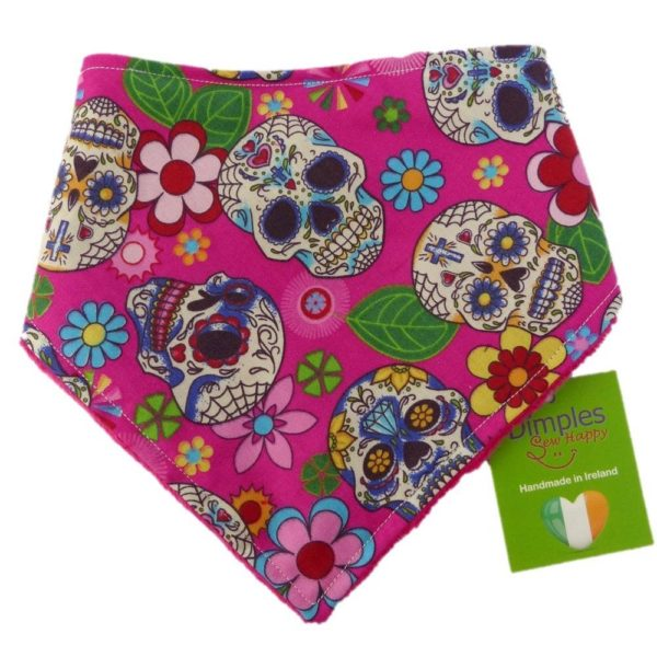 Dimples Dog Bandana - Pink Mexican Skulls (handmade for all sizes and breeds)