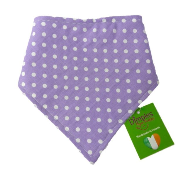 Dimples Dog Bandana - Purple Polka Dots (handmade for all sizes and breeds)