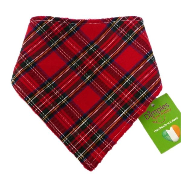 Dimples Dog Bandana - Red Tartan (handmade for all sizes and breeds)