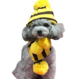 Infinal 3PC-Set Winter Warm Stripe Knitted Pet Dog Hat+Scarf+Socks Puppy Costume Clothes