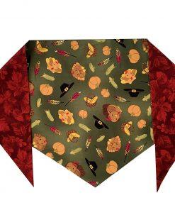 Turkeys & Fall Leaves Bandana (S) Ties on 9 - 10 neck 2