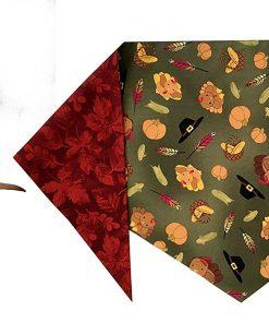 Turkeys & Fall Leaves Bandana (S) Ties on 9 - 10 neck