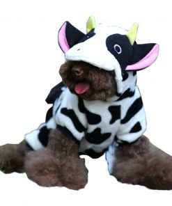 ARJOSA Puppy Dog Pet Halloween Costume Cow Jumpsuit Hoodie Clothes 2